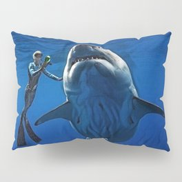 Cold Beauty - Woman Scuba Diving with Great White Shark Portrait Painting Pillow Sham