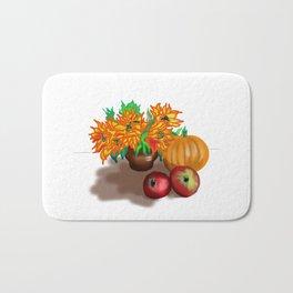 pumpkin sunflowers and apples Bath Mat