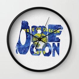 Oregon Typographic Flag Map Art Wall Clock