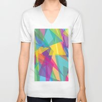 transparent V-neck T-shirts featuring Transparent Triangles by AleyshaKate