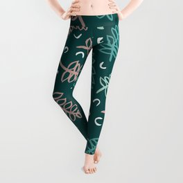 Botanical garden palm leaf teal winter pattern Leggings