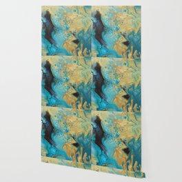 Fluid nature - Golden Sands -  Acrylic Pour Art Wallpaper