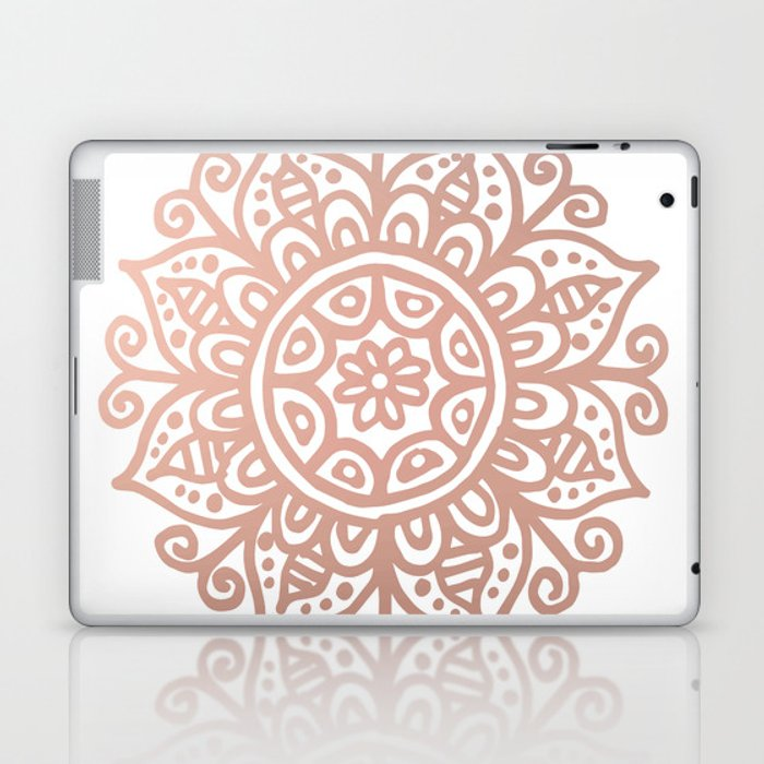 Rose Gold Floral Mandala Laptop & iPad Skin