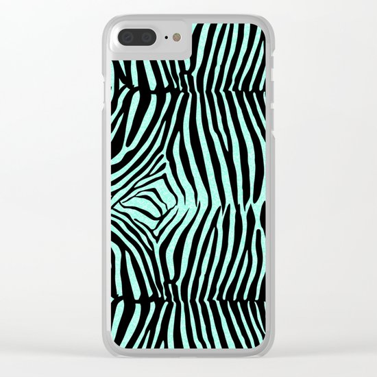 Blue & Black Glitter Zebra Print Clear iPhone Case