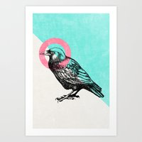 techno Art Prints featuring Techno Crow by Zeke Tucker