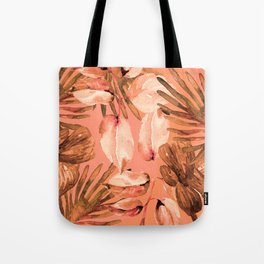 TROPICAL FERNS AND FLOWERS IN SHADES OF coral peach and burnt orange Tote Bag