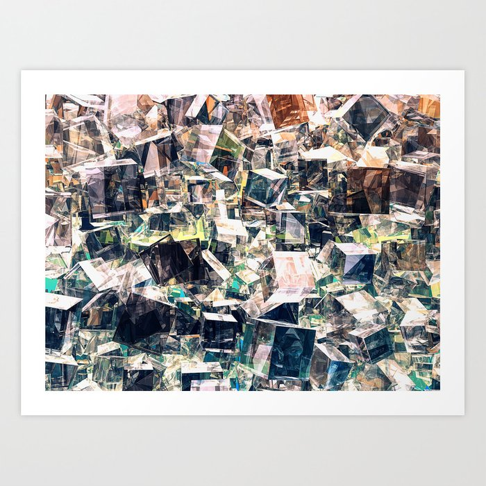 Chaotic Collection of Cubes Art Print