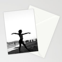 Vintage Surfer Girl   California Ocean Dancing on Huntington Beach Black and White Silhouette Stationery Cards