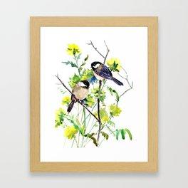 chickadees and Spring Blossom Framed Art Print