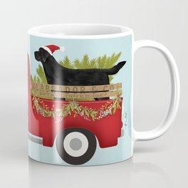 Black lab dog labrador christmas tree farm vintage red truck Coffee Mug