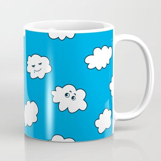 Blue Sky Happy Funny Clouds Mug