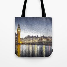 Westminster At Night Snow Tote Bag