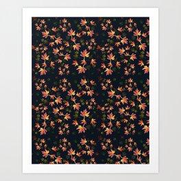 Autumn nature-Fall season, orange leaves, original pattern Art Print