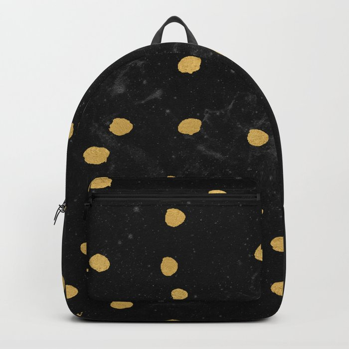 Gold Dots on Black Space Pattern Backpack
