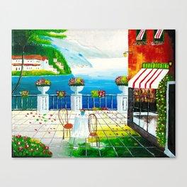 Cafe in Taormina, Italy Canvas Print