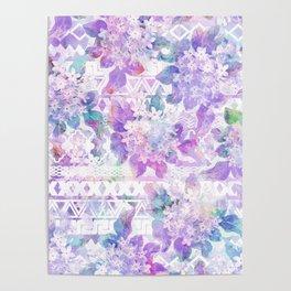 Lavender lilac pink white watercolor aztec floral Poster