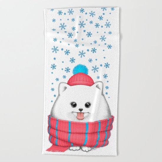winter dog Beach Towel