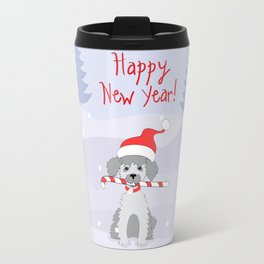 new year puppy with stick Travel Mug