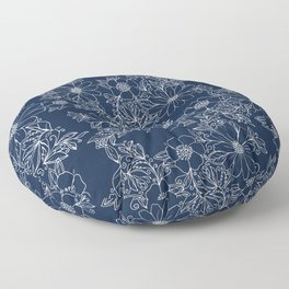 Artistic hand painted navy blue white modern floral Floor Pillow