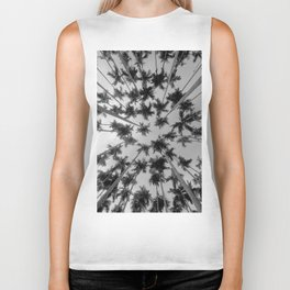 Above Palm Trees (Black and White) Biker Tank