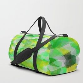 geometric polygon abstract pattern in green and yellow Duffle Bag