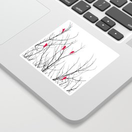 Artistic Bright Red Birds on Tree Branches Sticker