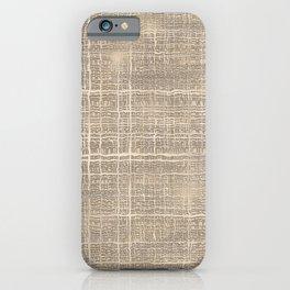 Beige Taupe Brown Jute Burlap Textile Pattern iPhone Case
