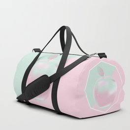 Two colored background with apple Duffle Bag