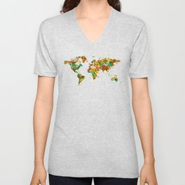 Map of the World watercolor Unisex V-Neck