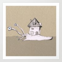 snail Art Prints featuring Snail by Bwiselizzy