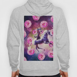 Thug Space Cat On Unicorn - Donut Hoody