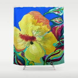 Birthday Acrylic Yellow Orange Hibiscus Flower Painting with Red and Green Leaves Shower Curtain