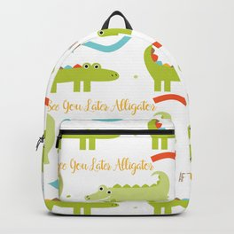 Alligators and Crocodiles with quotes and arrows Backpack