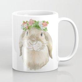 Lop Rabbit Floral Wreath Watercolor Painting Coffee Mug