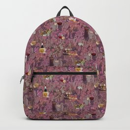 Wine and Cheese Pattern Print Backpack