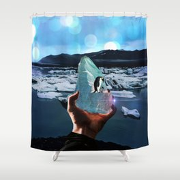 Penguins on a piece of ice by GEN Z Shower Curtain