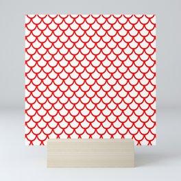 Scales (Red & White Pattern) Mini Art Print