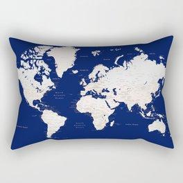 """Navy blue and light brown detailed world map """"Gavin"""" Rectangular Pillow"""