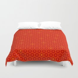 Red Orange Imperial Cogs Duvet Cover