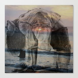 Girl Doing Yoga at the Beach - pastel colors, double exposure sunrise/sunset Canvas Print