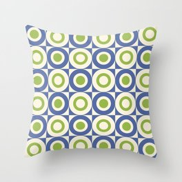 Mid Century Square and Circle Pattern 541 Blue and Green Throw Pillow