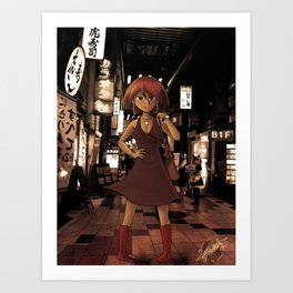Girl In Osaka Art Print