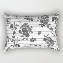 Black and White Floral on Stripes Rectangular Pillow