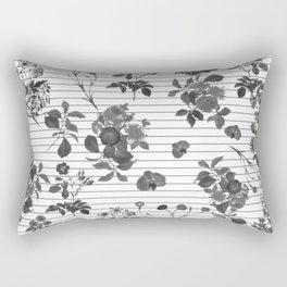 Black and White Floral on Stripes Rectangular Pillow