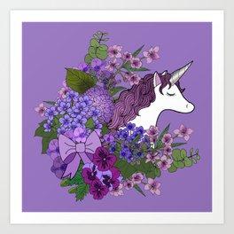 Unicorn in a Purple Garden Art Print