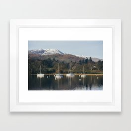 Boats on Lake Windermere at Waterhead. Cumbria, UK. Framed Art Print