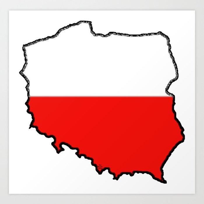 Poland Map With Polish Flag Art Print By Havocgirl Society6