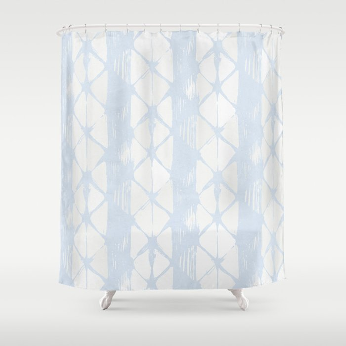 Simply Braided Chevron Sky Blue On Lunar Gray Shower Curtain