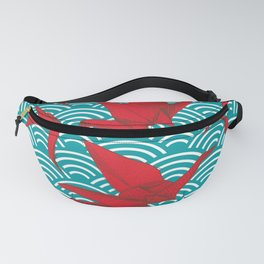 Origami red paper cranes sketch. burgundy maroon line Nature oriental Fanny Pack