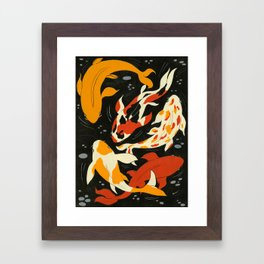 Koi in Black Water Framed Art Print